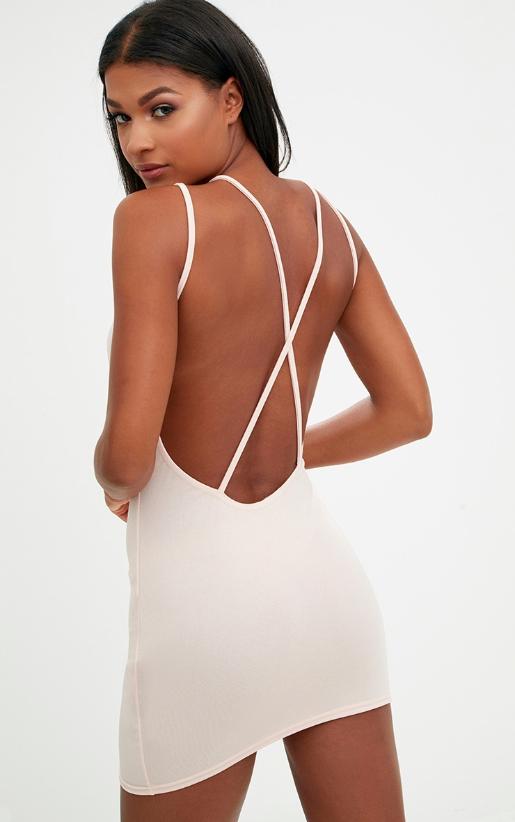 Nude Strap Detail Low Back Bodycon Dress 2