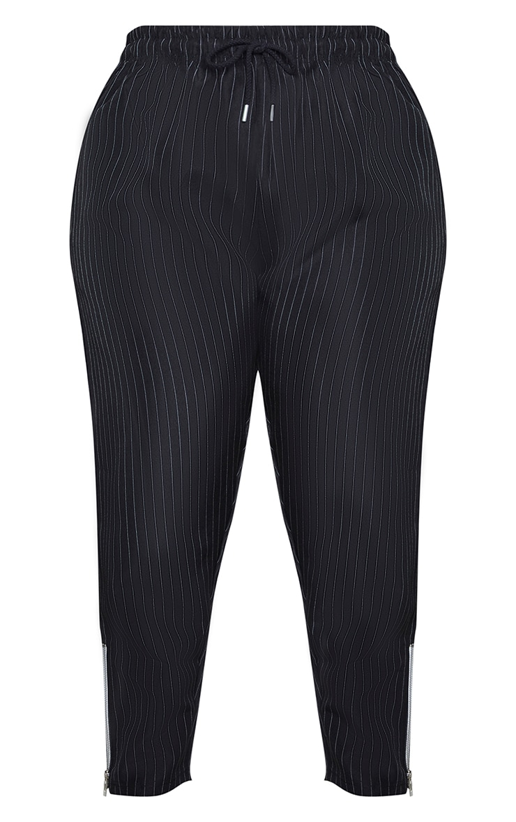 Plus Black Pinstripe High Waist Trouser with Contrast Zip 5