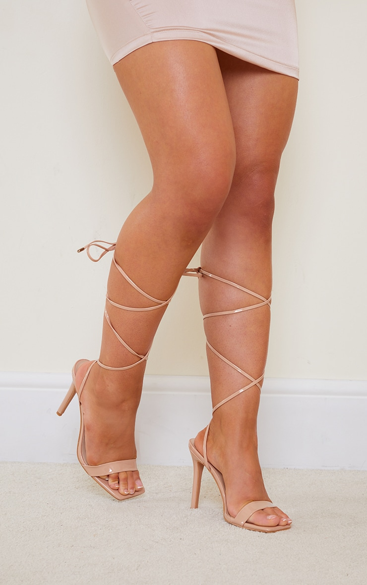 Nude PU Patent Strap Lace Up High Heels 2