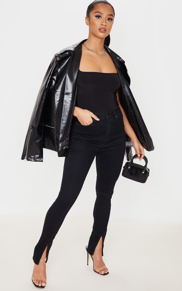 Petite Black Split Front Skinny Jean 1