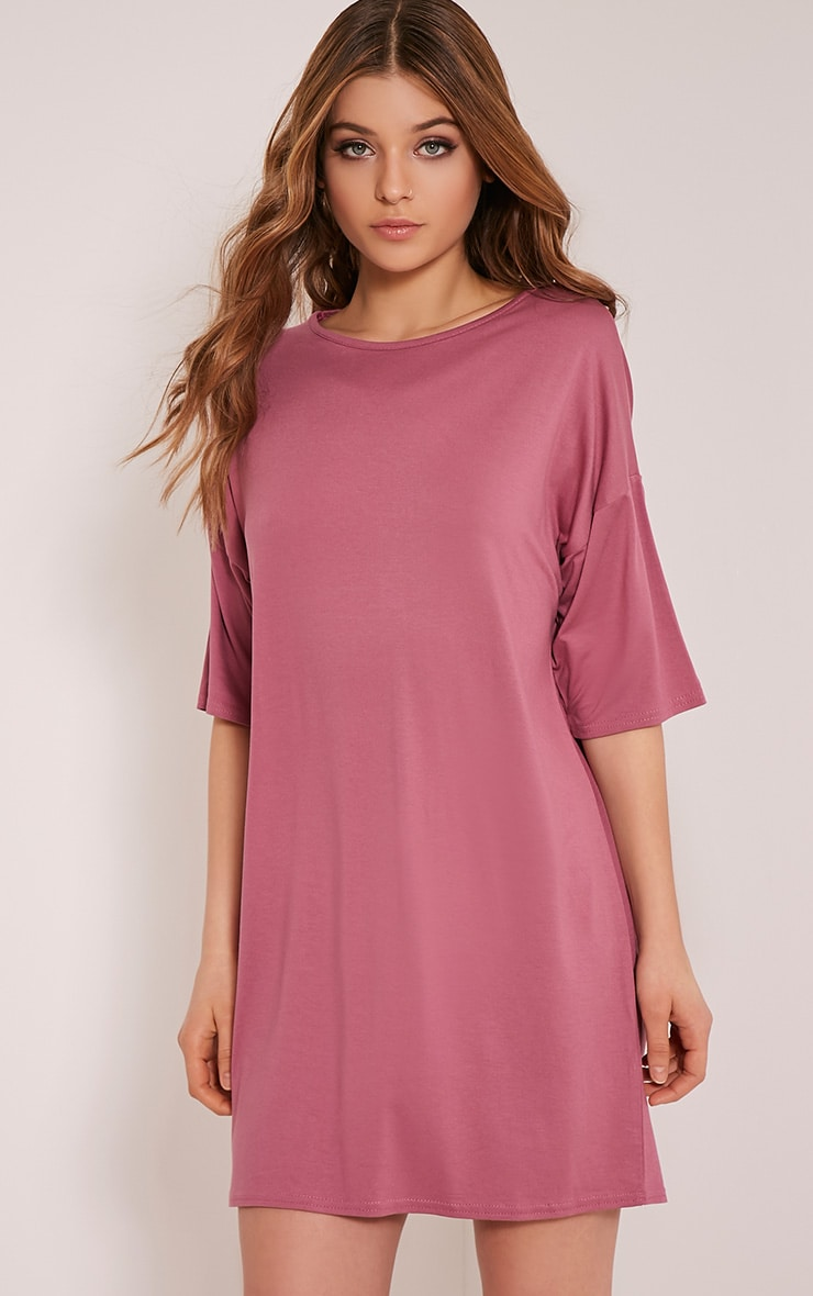 Basic Rose Drop Shoulder T Shirt Dress 1