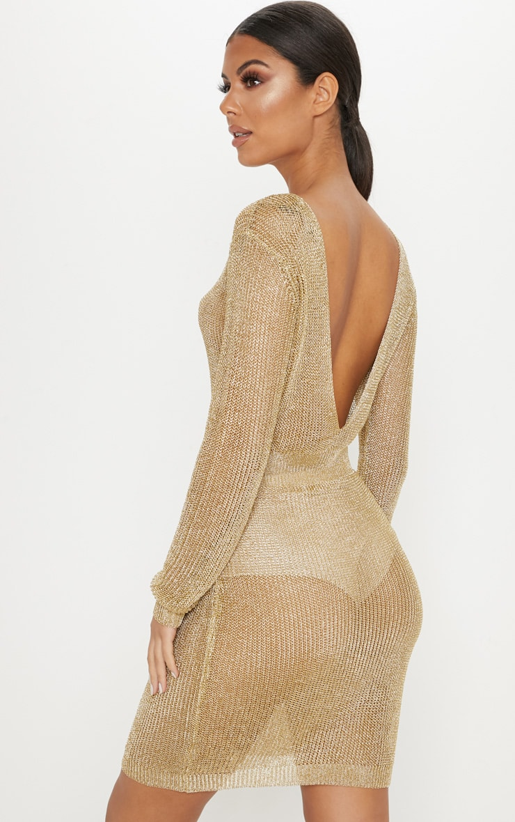 Gold Plunge Back Metallic Knitted Dress