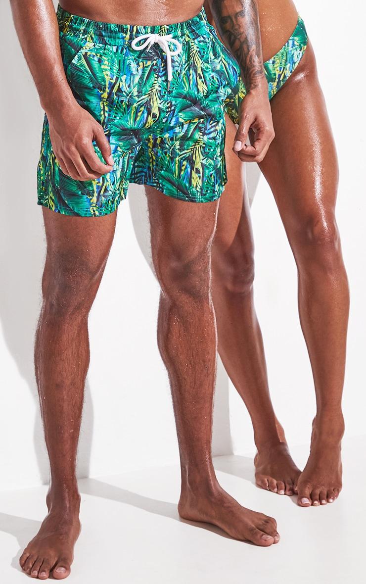 Green Tropical Printed Mid Length Swim Shorts 2