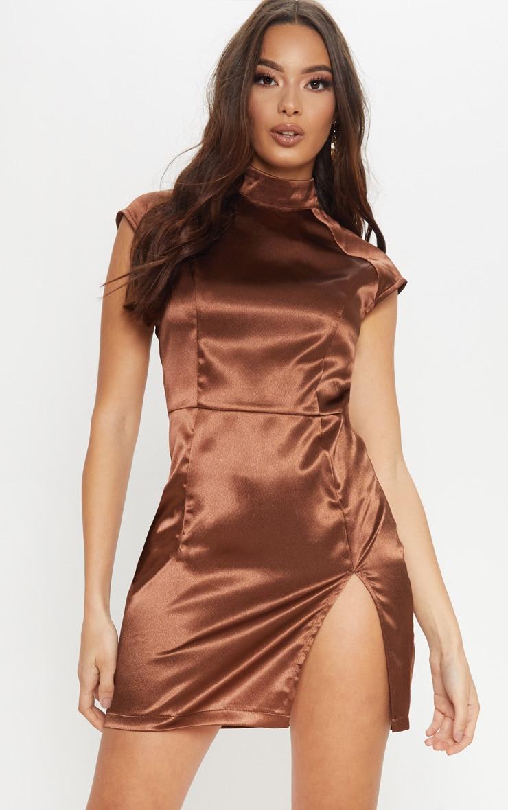 Chocolate Brown Satin High Neck Split Dress by Prettylittlething