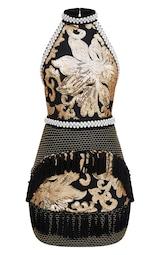 008862814b269 Premium Black Halterneck Sequin Tassel Bodycon Dress | PrettyLittleThing