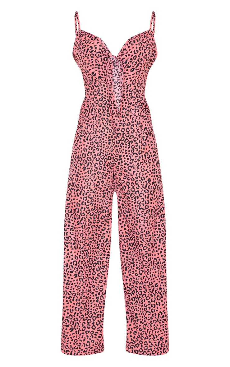 Pink Strappy Animal Print Culotte Jumpsuit 3