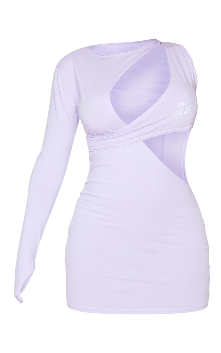 PRETTYLITTLETHING Shape Lilac Embroidered Cut Out Bodycon Dress 5