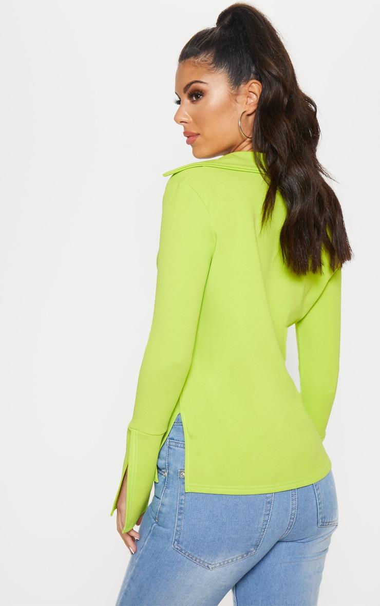 Lime Crepe Hook Front Oversized Shirt 2