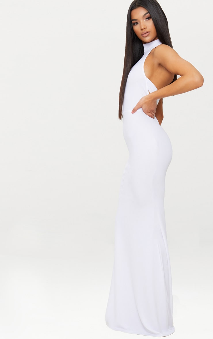 White Cross Back High Neck Maxi Dress 4