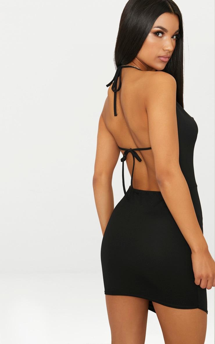 Black Cowl Neck Pointy Hem Bodycon Dress 2