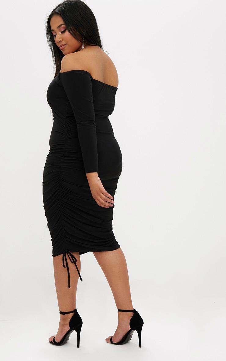 Plus Black Ruched Tie Side Bardot Midi Dress 2