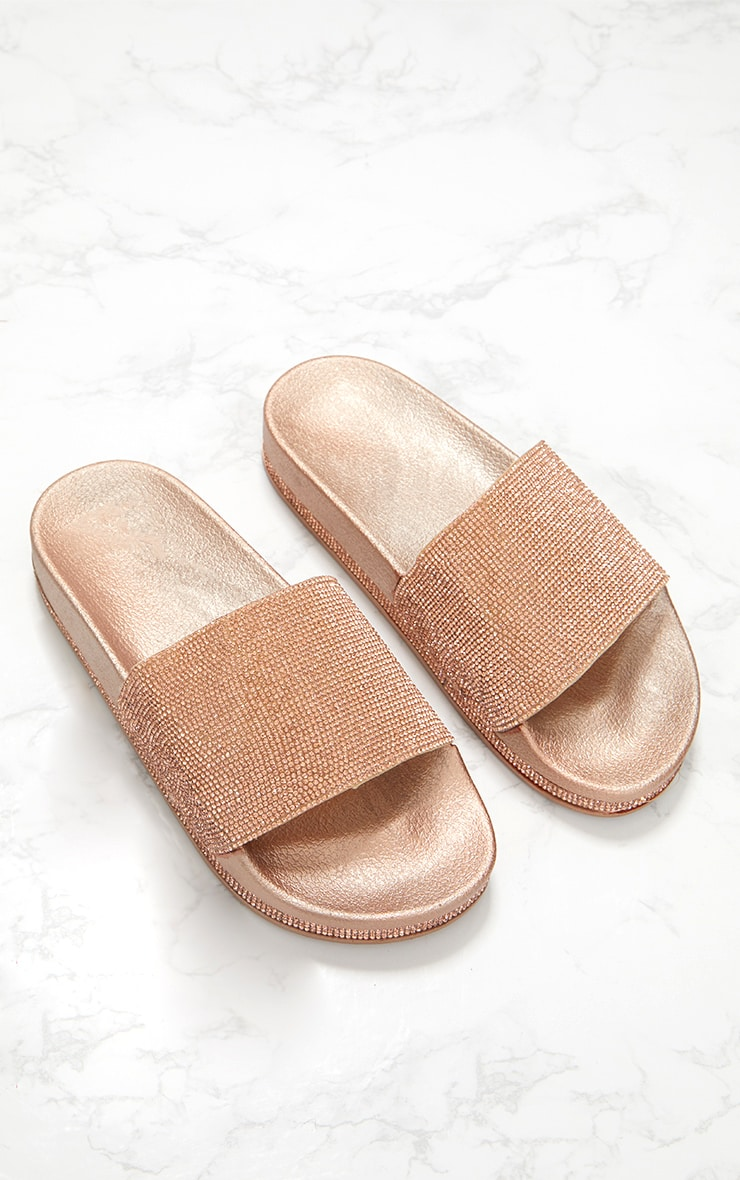 Rose Gold Diamante Embellished Slides 1