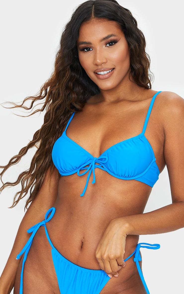 Blue Ruched Underwired Bikini Top 1