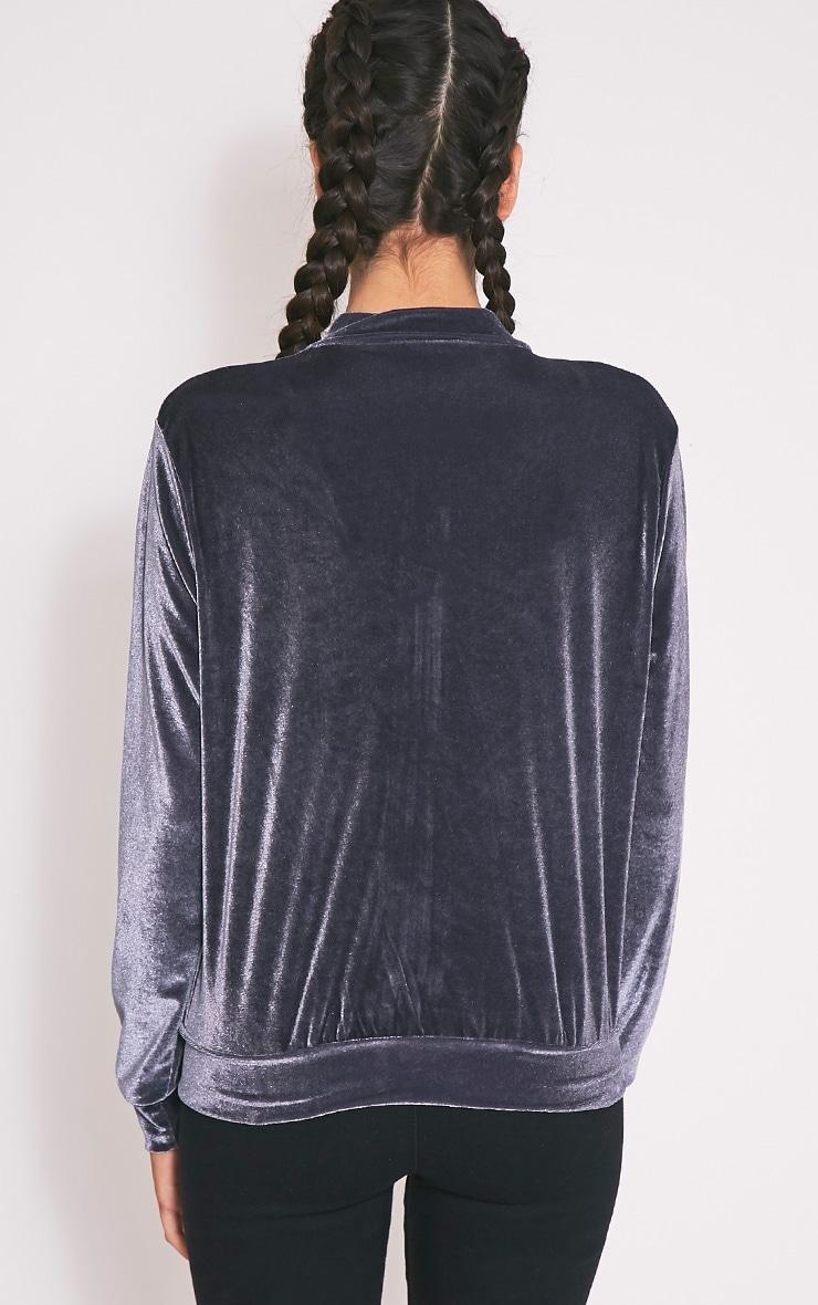 Samirah Grey Velvet Bomber Jacket 2