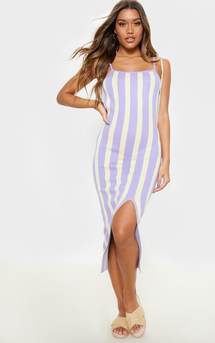 Lilac Stripe Detail Knitted Midi Dress  1