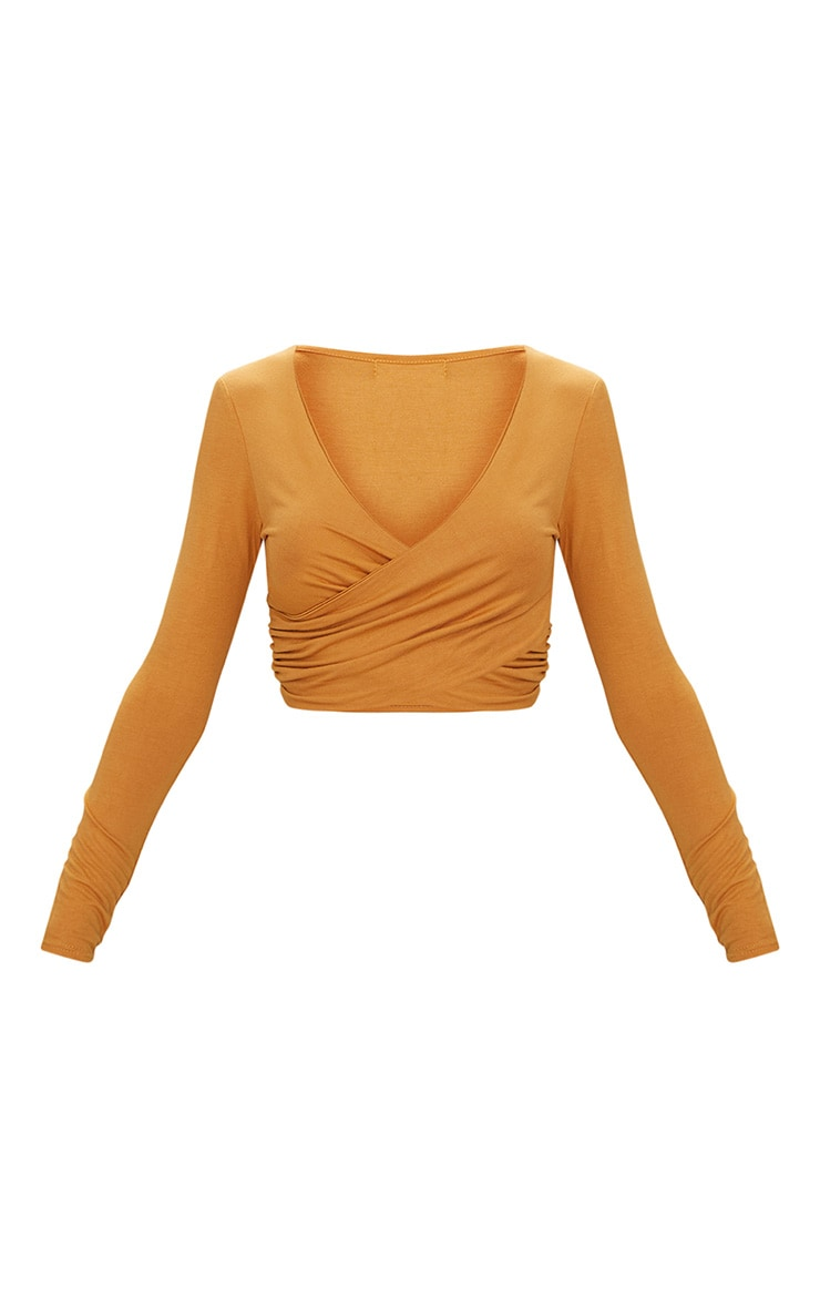 Mustard Jersey Wrap Long Sleeve Crop Top 3
