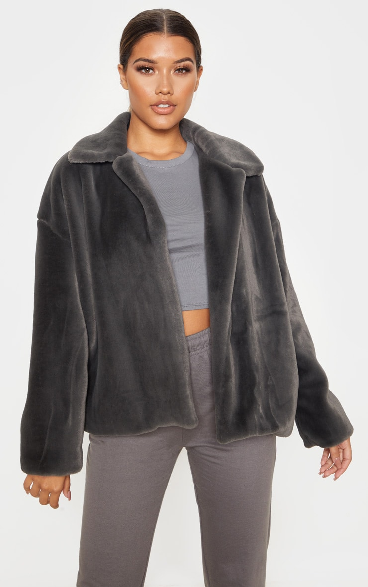 Charcoal Grey Oversized Faux Fur Jacket 5