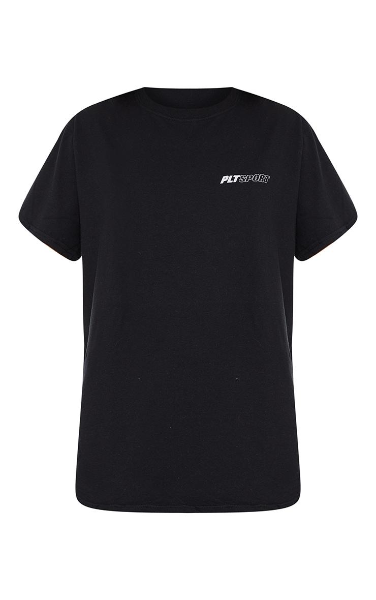 PRETTYLITTLETHING Black Sport Oversized T Shirt 5