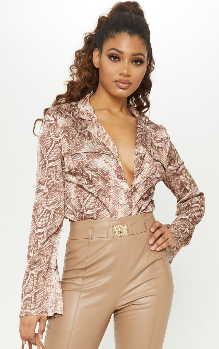 Tall Brown Satin Snake Print Pocket Detail Shirt 1