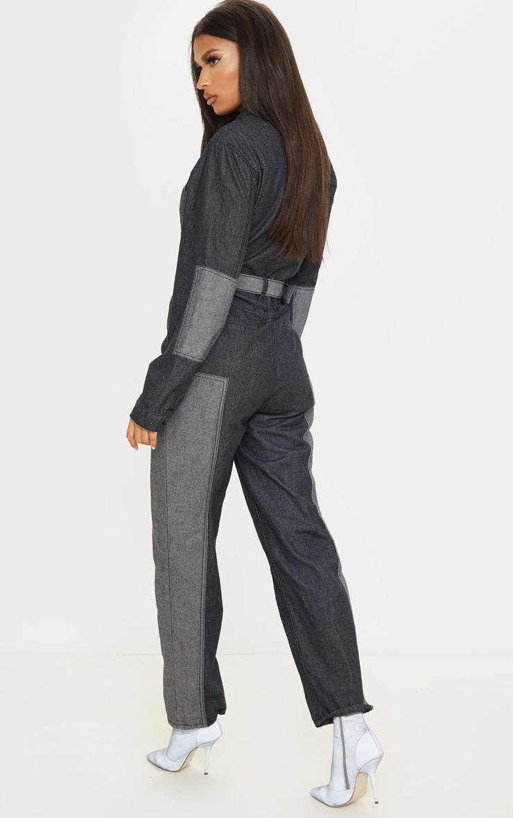 Charcoal Grey Two Tone Oversized Belted Denim Boilersuit 2