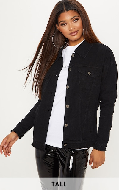 9ad31491850 Tall Black Oversized Denim Jacket PrettyLittleThing Sticker