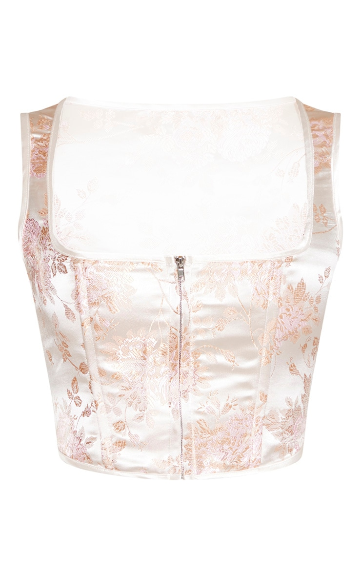 Pink Satin Oriental Print Zip Front Corset 3