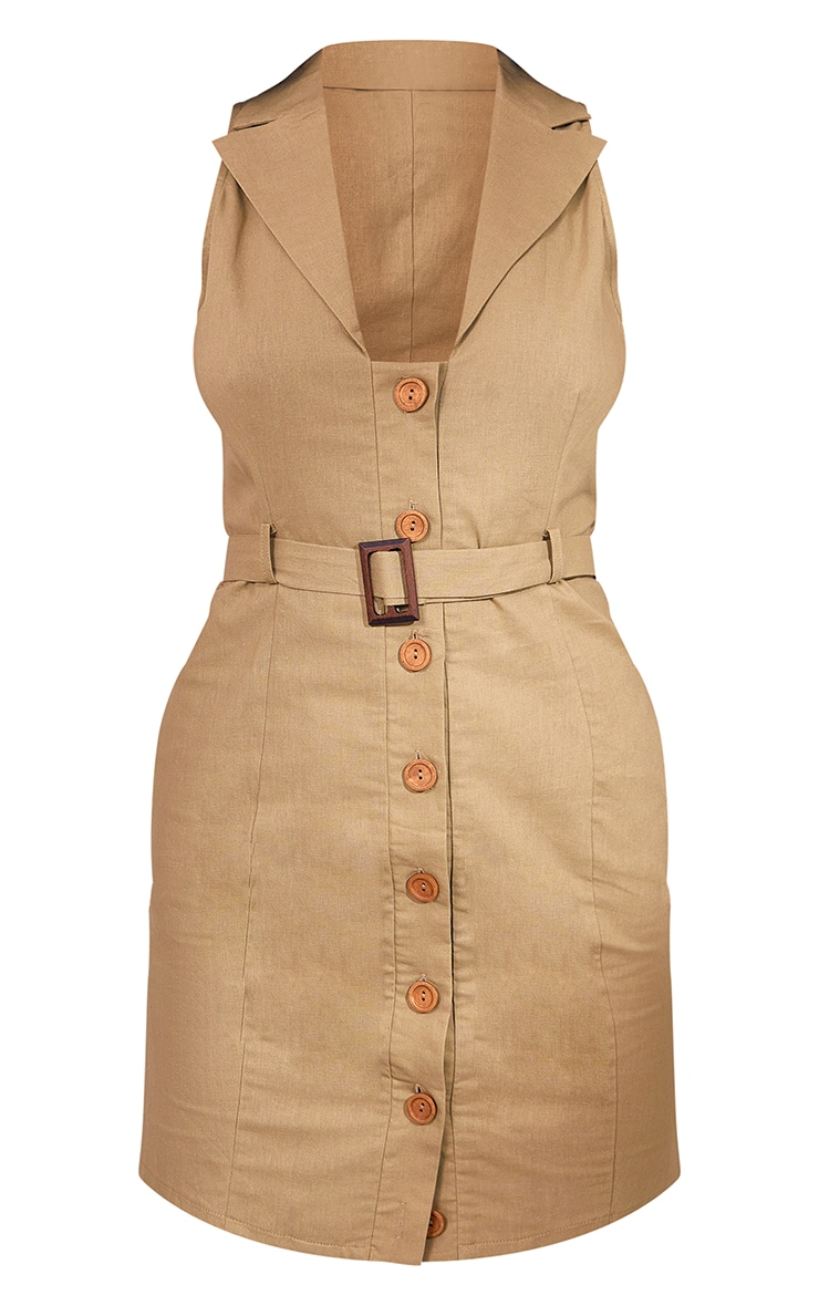 Khaki Linen Look Button Down Belted Sleeveless Bodycon Dress 5