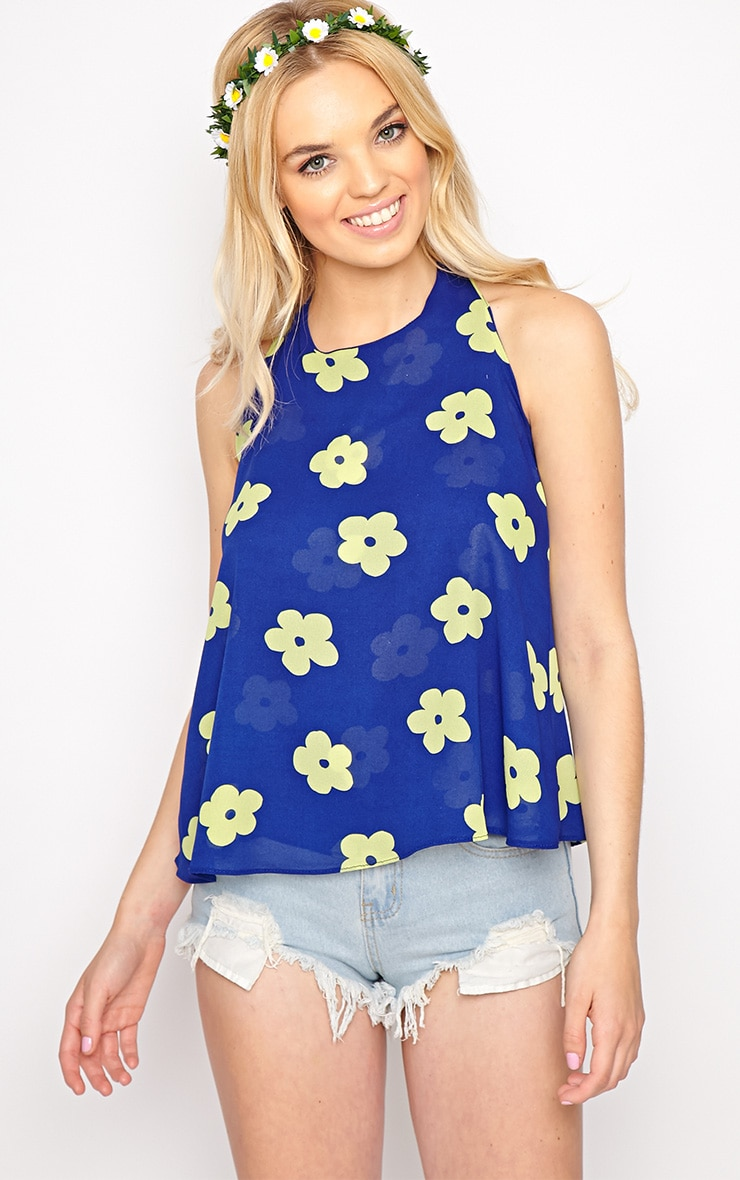 Lydia Green Floral Swing Vest  1