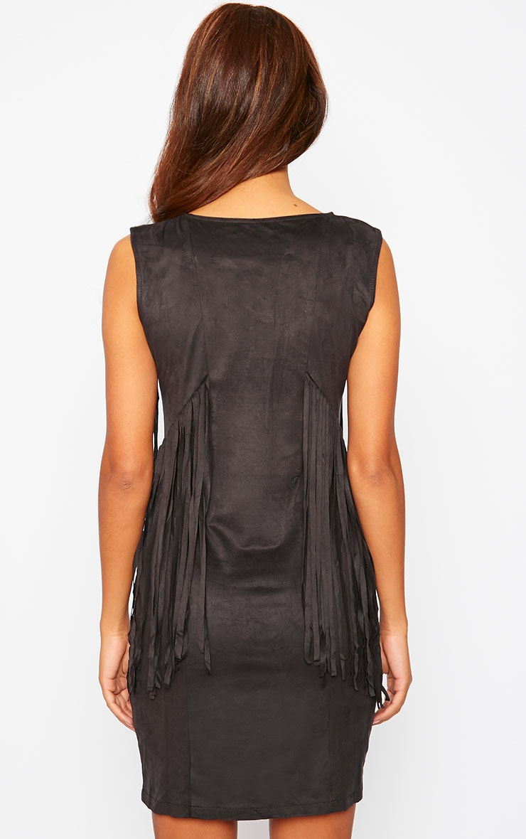 Nylah Black Suedette Tassel Dress 2