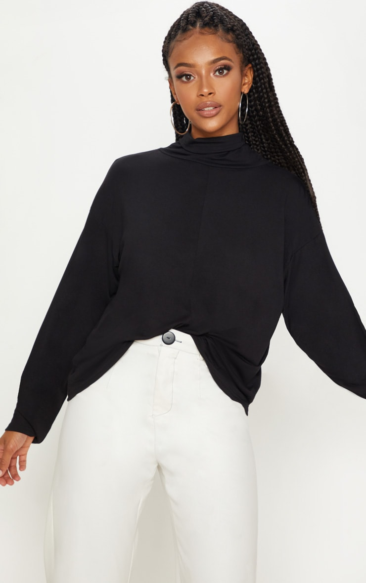 Black Jersey High Neck Oversized Top 1