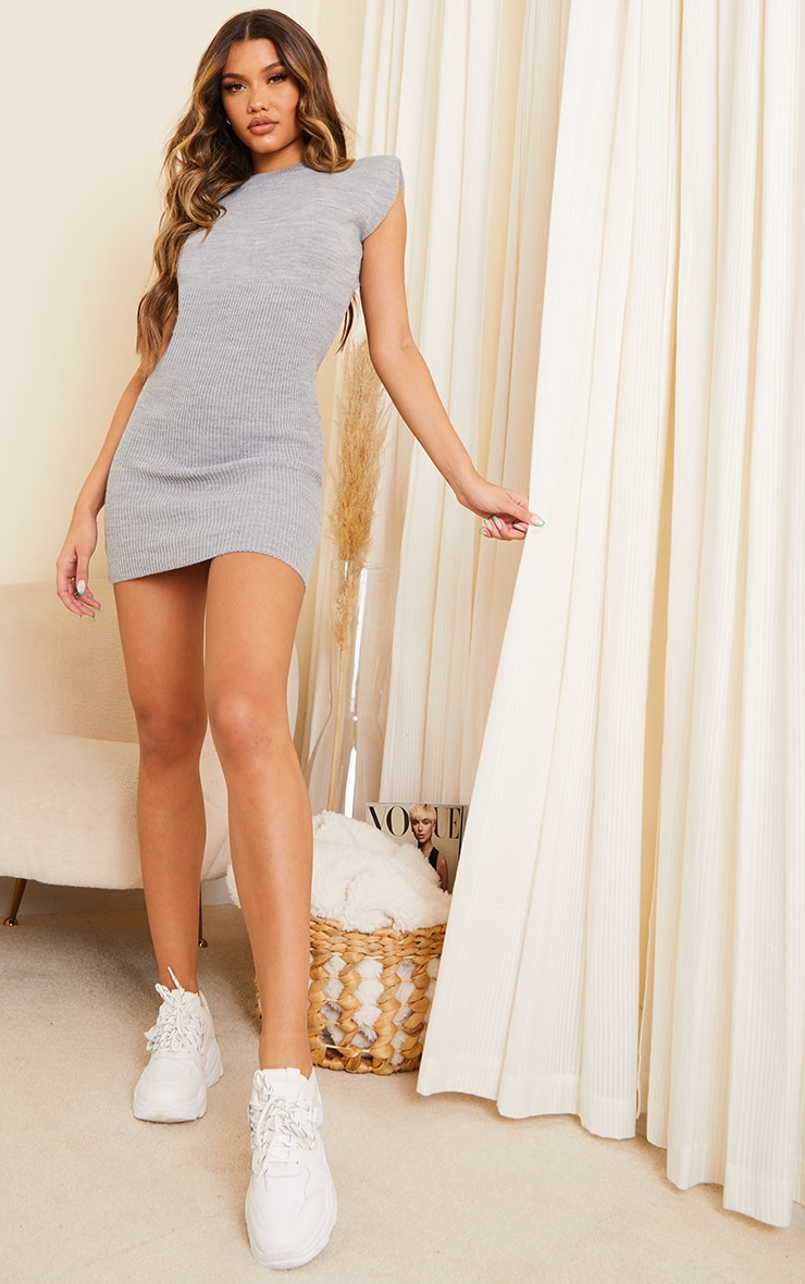Grey Shoulder Pad Knitted Bust Detail Sleeveless Dress 3