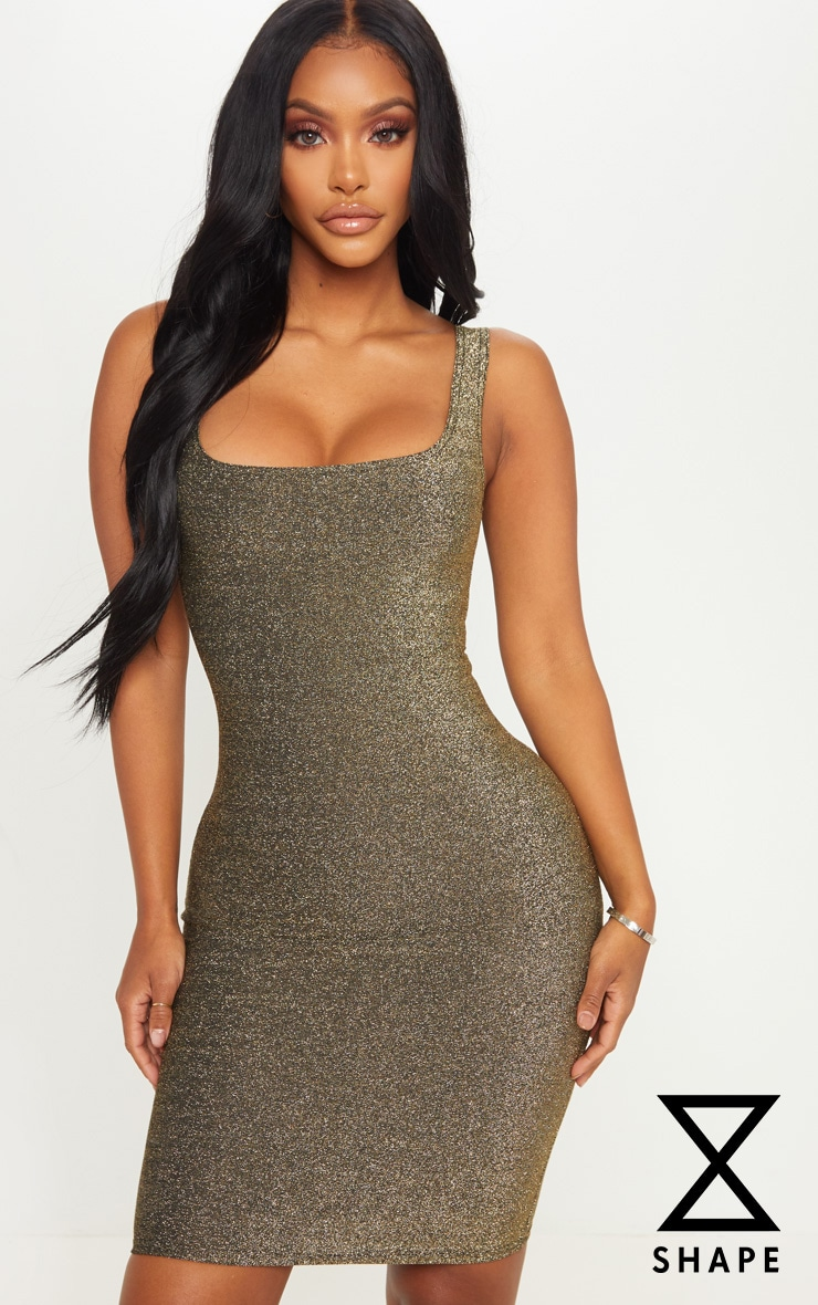 Shape Gold Textured Glitter Scoop Neck Bodycon Dress