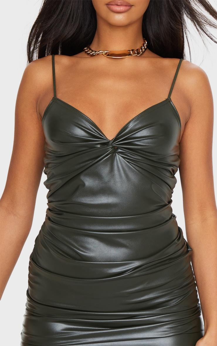 Khaki PU Strappy Twist Front Ruched Bodycon Dress 4