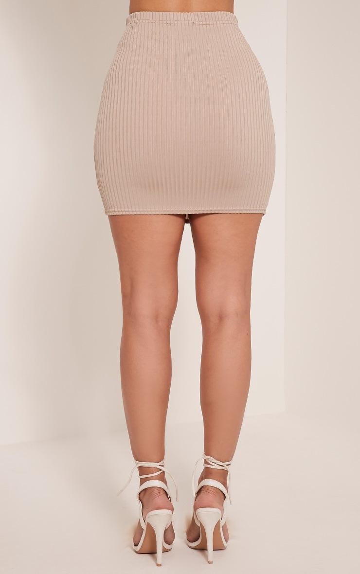 Kristine Taupe Ribbed Mini Skirt 4