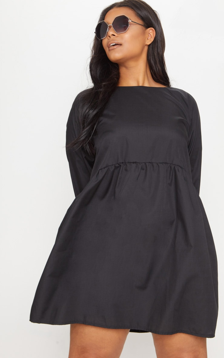 Plus Black Poplin Smock Dress