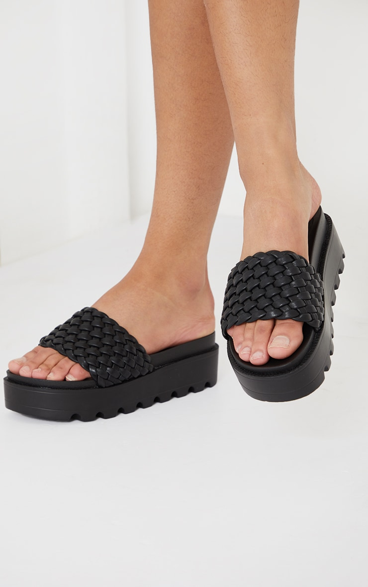 Black Cleated Flatform Woven Strap Sliders 2