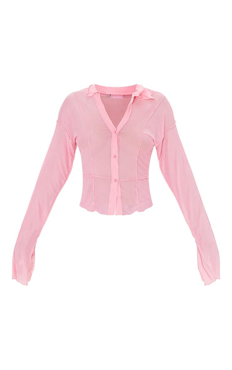 Pink Mesh Contrast Seam Long Sleeve Shirt 5