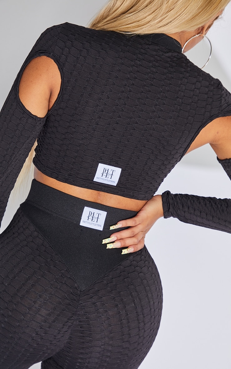 PRETTYLITTLETHING Shape Black Textured Cut Out Gym Top 4