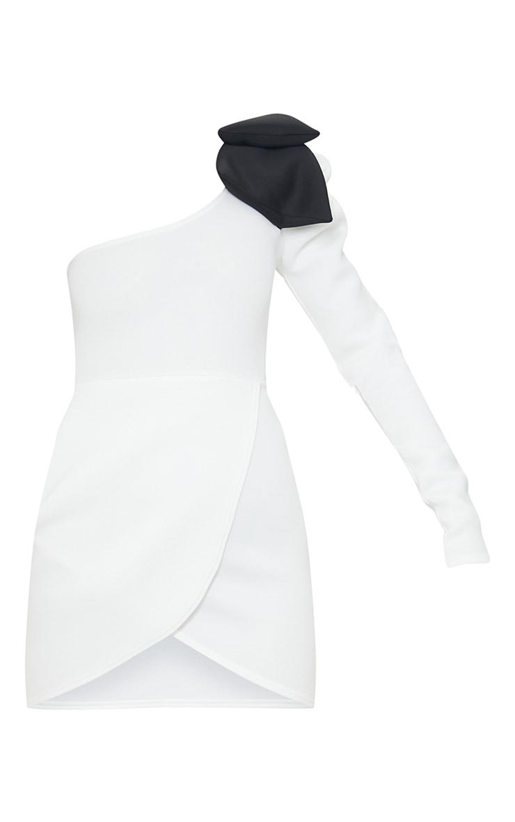 White Bow Detail One Shoulder Scuba Bodycon Dress 5
