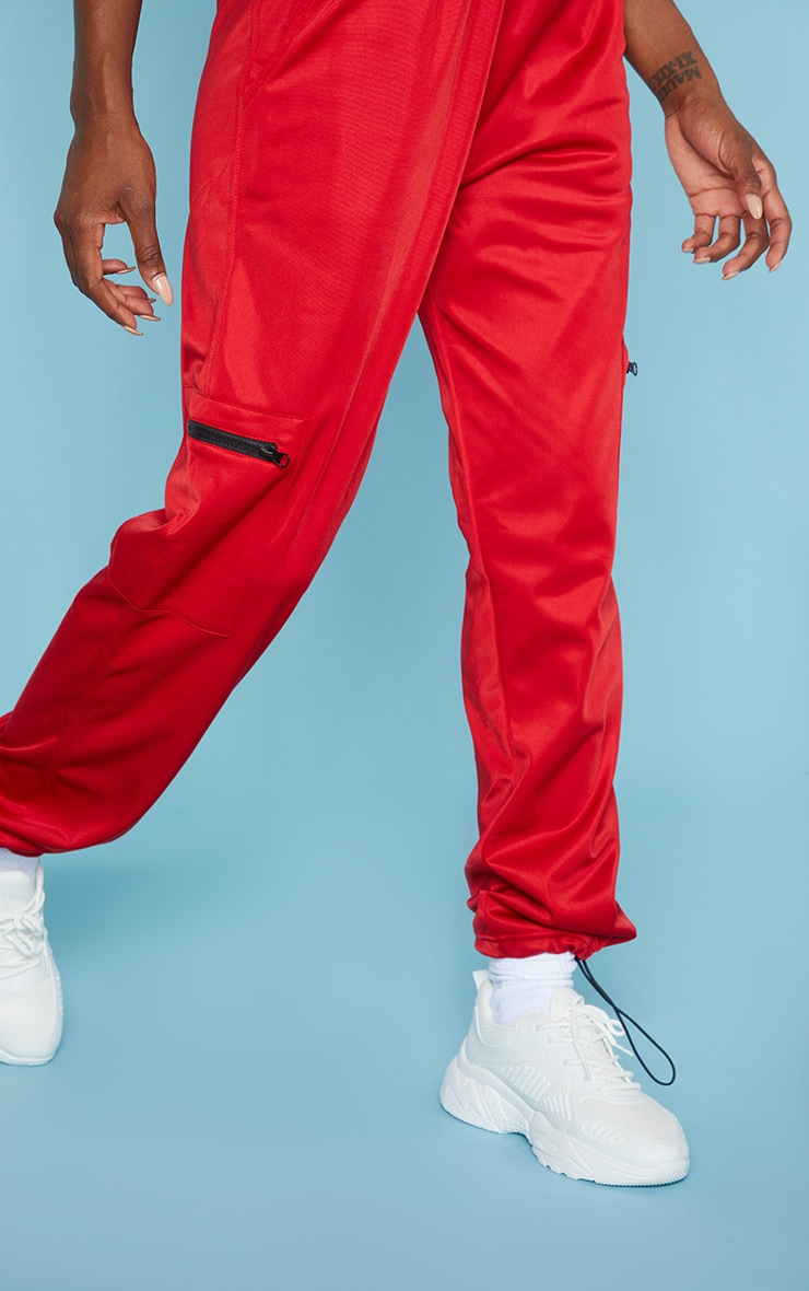 Red Zip Pocket Detail Joggers 4