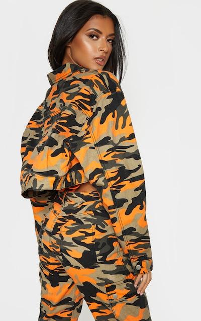 Orange Camo Denim Cropped Oversized Jacket
