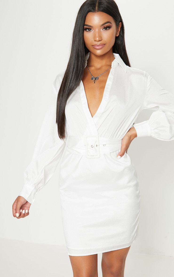 14af720581a White Plunge Belted Shirt Dress image 1