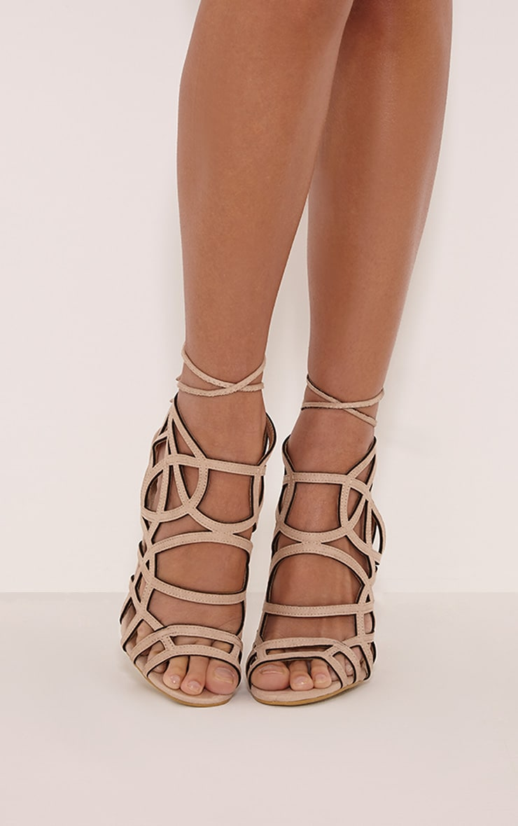 Salina Cream Faux Suede Cut Out Heeled Sandals 2