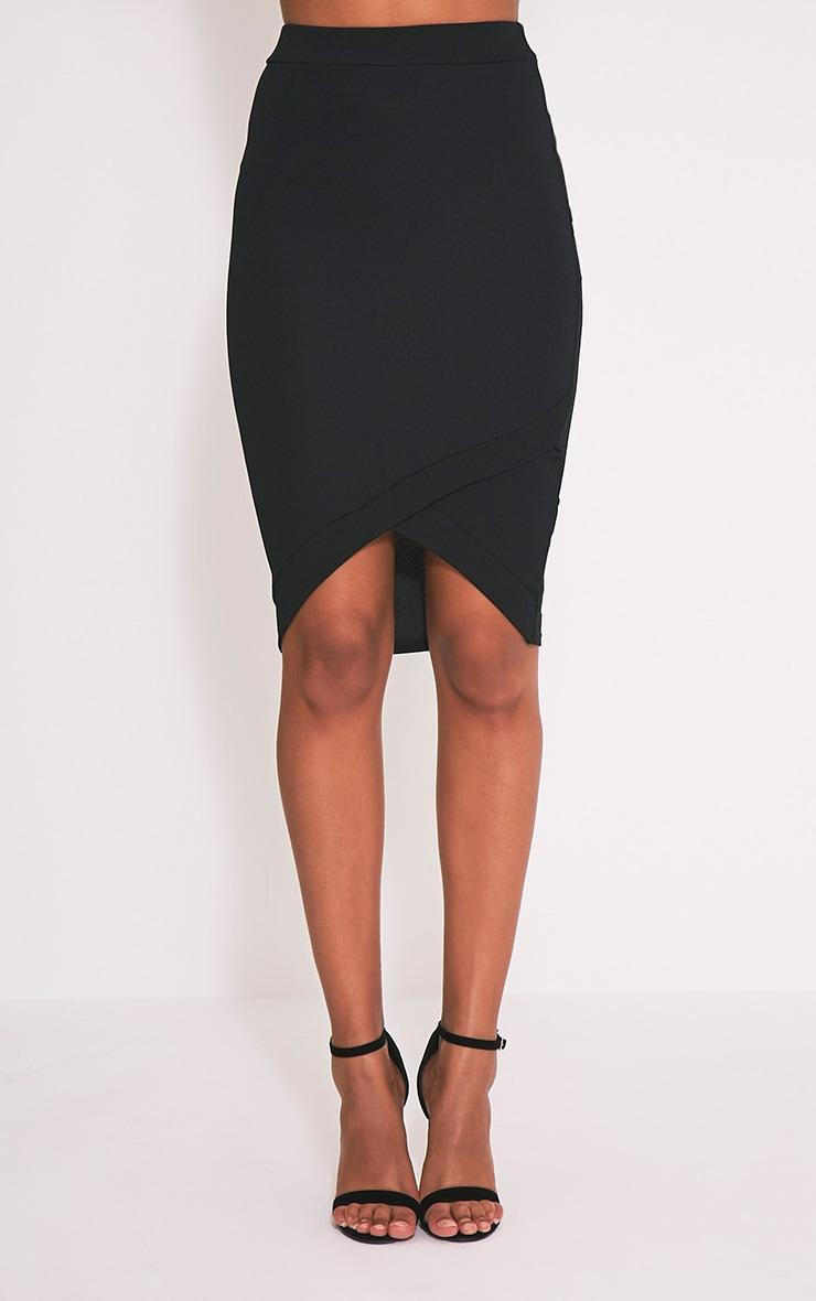 Gabriella Black Wrap Hem Midi Skirt 2