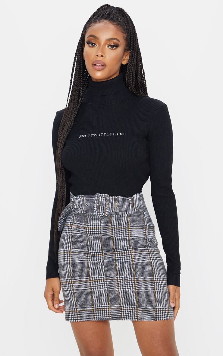 Grey Check Belted Mini Skirt 1