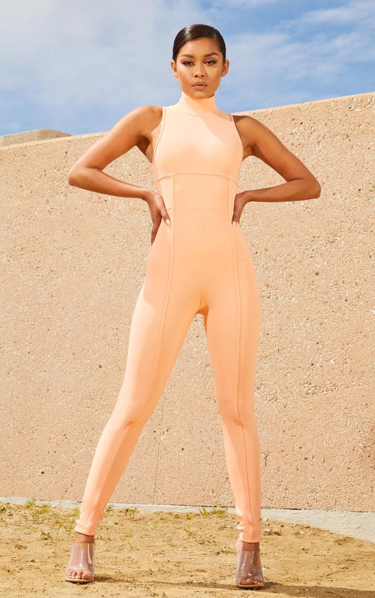 Peach Second Skin High Neck Binding Detail Jumpsuit