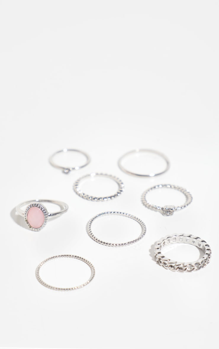 Silver Mixed Textured Ring 8 Pack 2