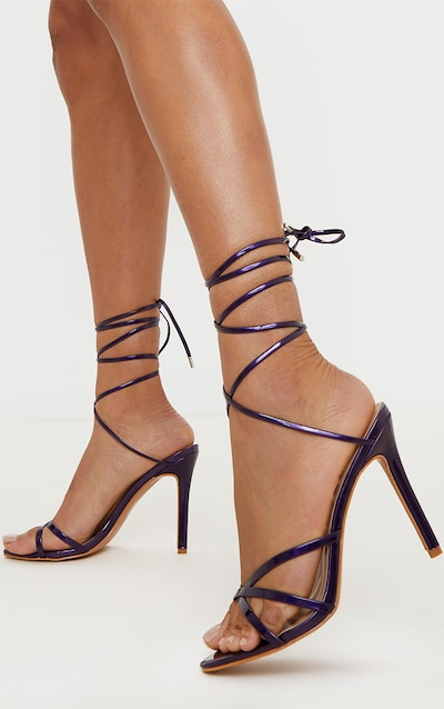 Deep Purple Point Toe Thong Strappy High Heel Sandal