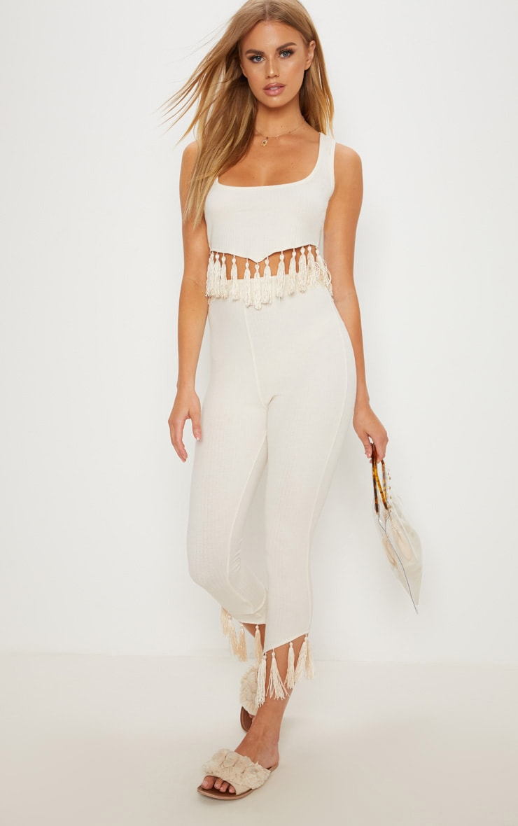 Cream Rib Tassel Trim Legging 1