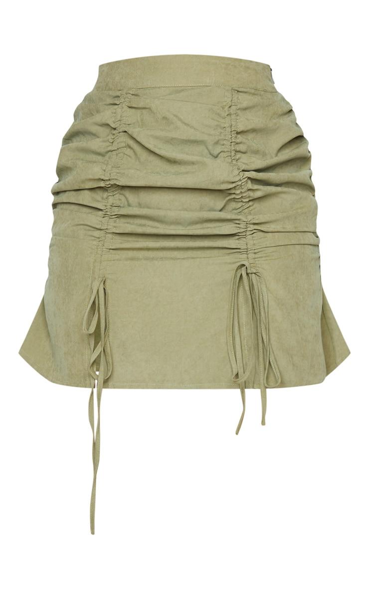 Khaki Faux Suede Double Ruched Detail Mini Skirt 3
